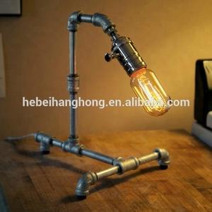 Originality DIY metal pipe lamps with metal pipe fittings and brass brushing