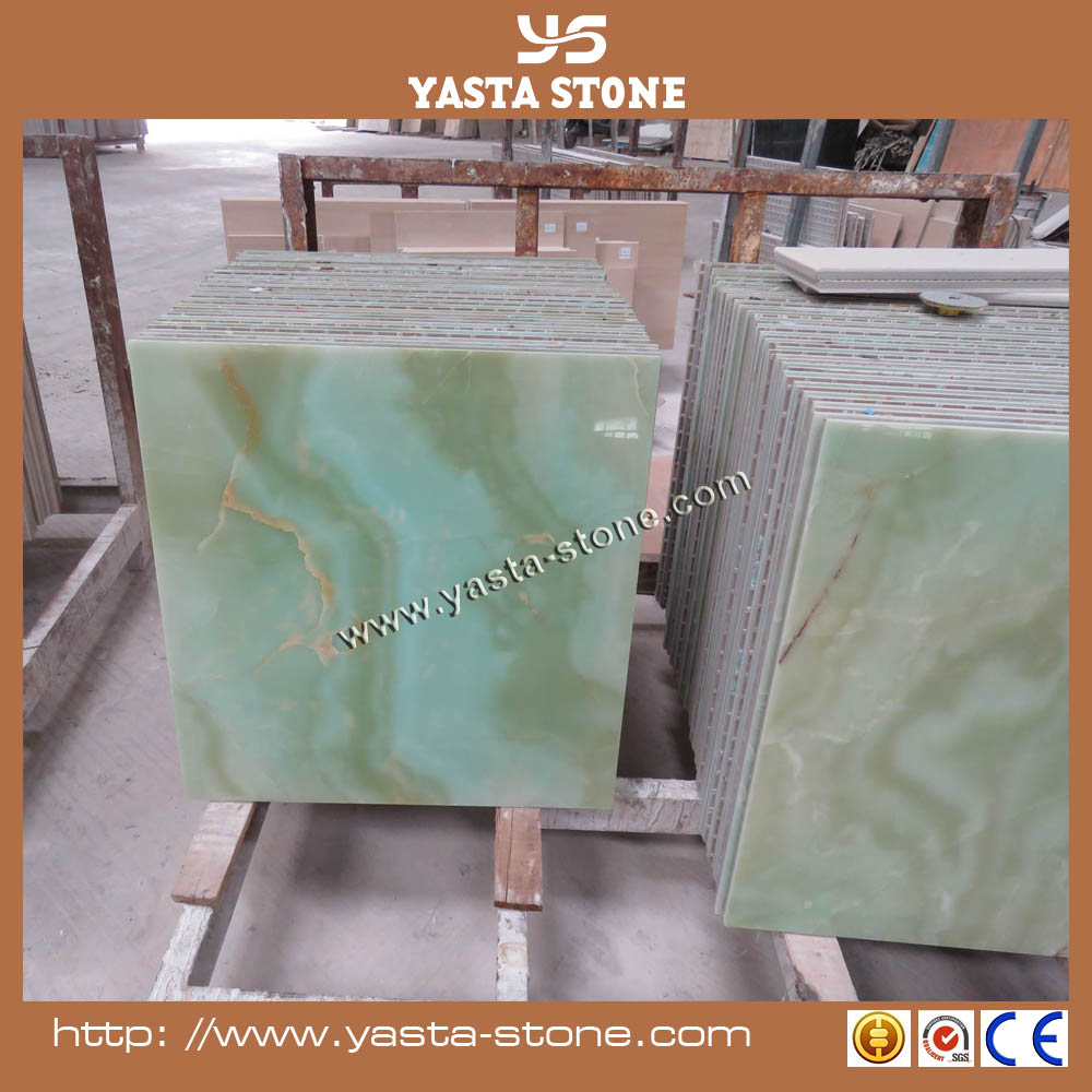New Arrival Polished Green Onyx Tiles Marble Composite Tiles