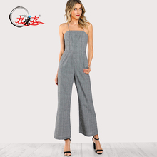 Neue Mode frauen <span class=keywords><strong>Overall</strong></span> Design Sleeveless Hohe Taille Plaid Spaghettibügel Breites Bein <span class=keywords><strong>Overall</strong></span>