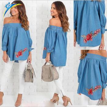 58cec75f479b5a AliExpress long sleeve off shoulder tops embroidery women denim summer  autumn shirts blouse
