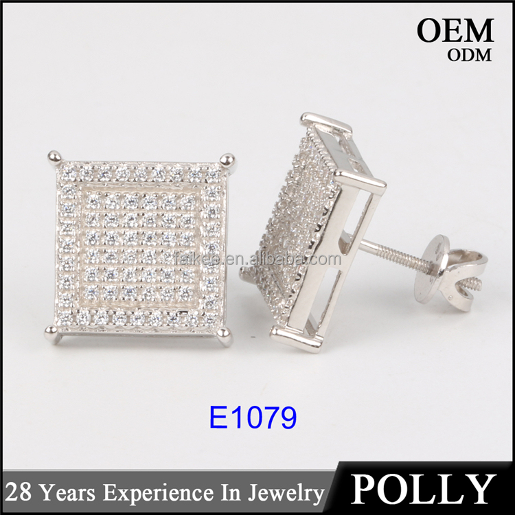 Custom 925 sterling silver Iced out square hip hop mens earrings