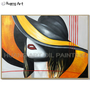 Hand-painted Modern Abstract Beauty Lady Portrait Oil Painting on Canvas Elegant Lady with Hat Figure Oil Painting for Decor