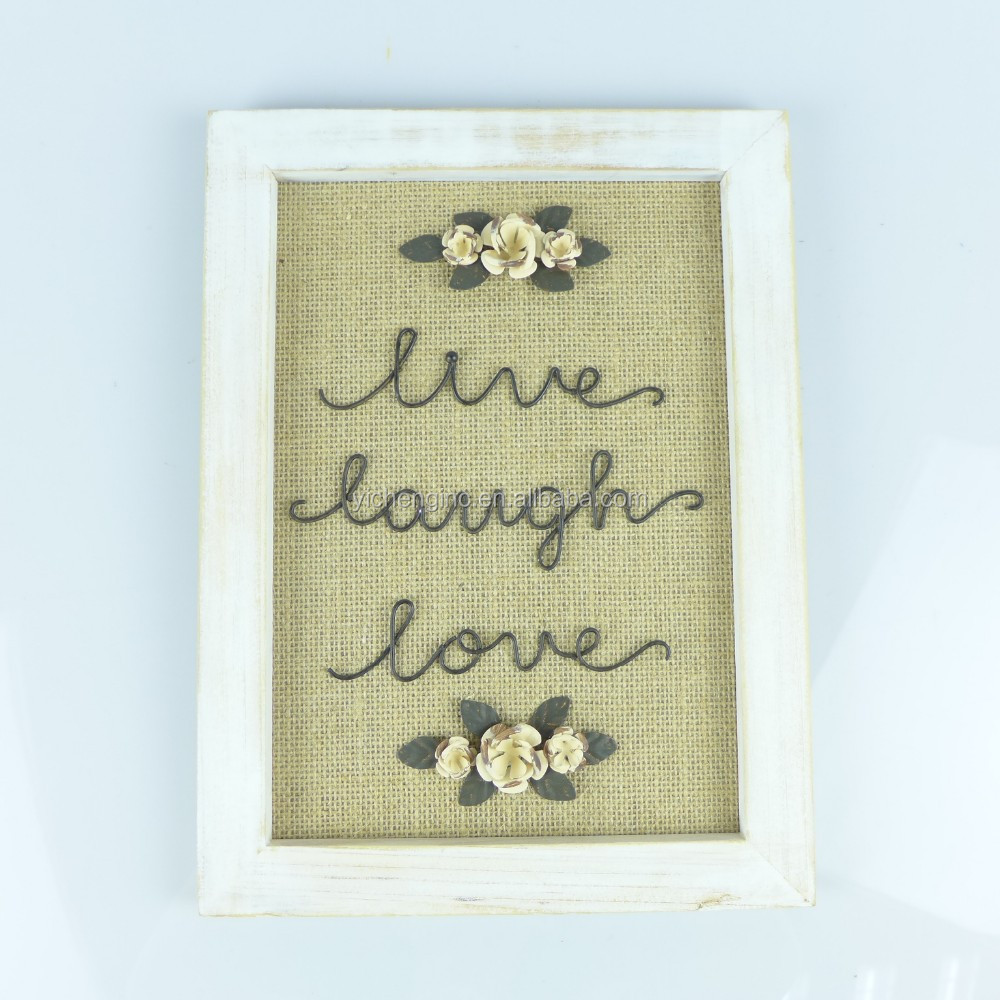 Wooden decoration hanging wall plaque with metal flowers