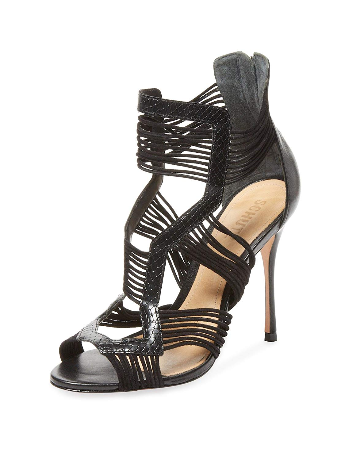 1eb4300a68 Get Quotations · SCHUTZ Robbi Black Leather & Elastic Fitted High Heel  Strappy Strappy Sandal