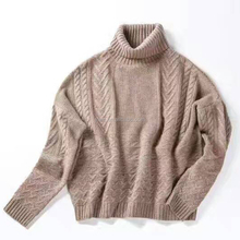 Winter turtle neck pullover 100% wool sweater women