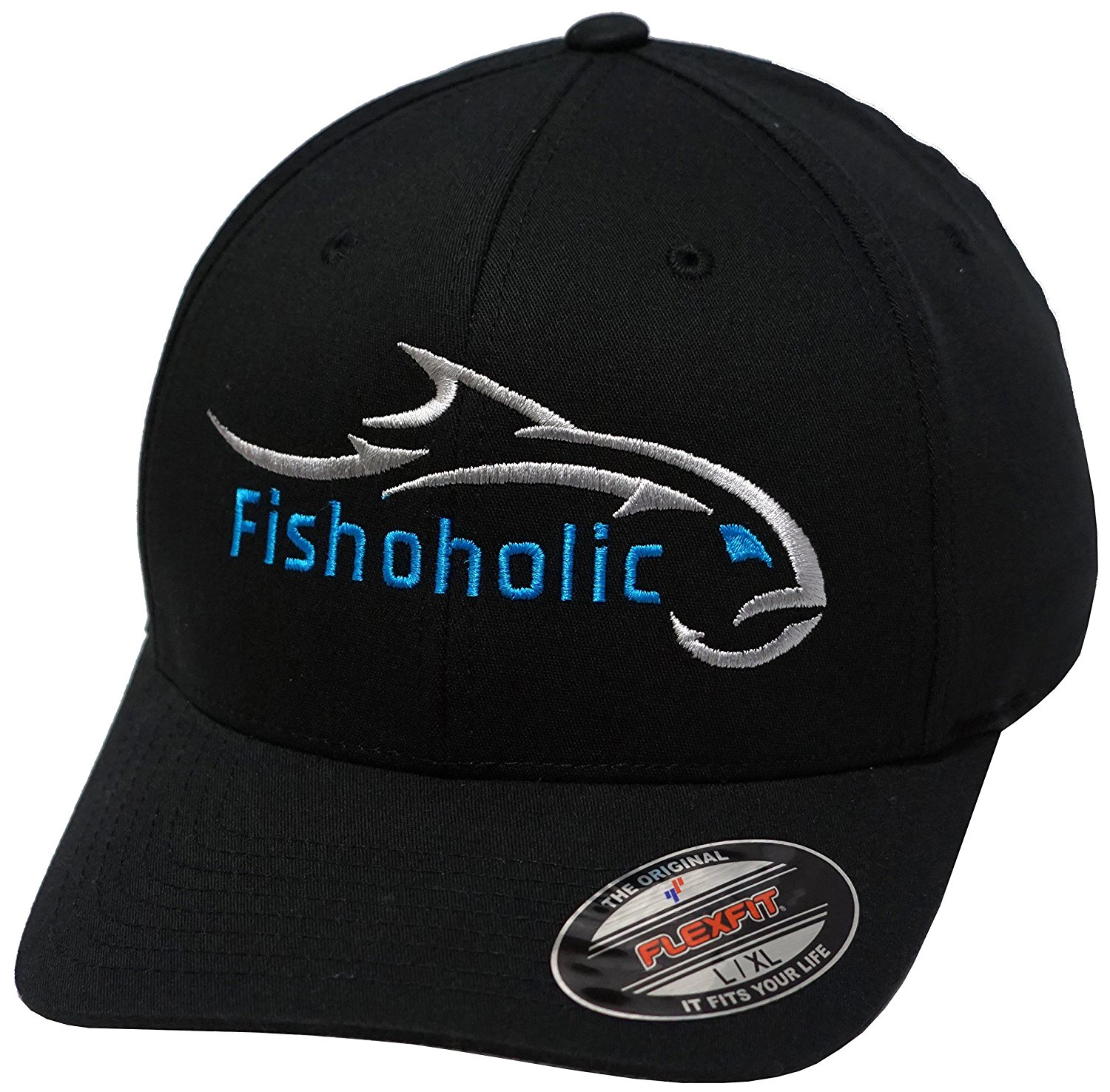 Fishoholic Baseball Fishing Hat w' Angry Fish Logo & Bend Your Rod on Trucker Snap Back or Flexfit. USPTO Registered TM Fishaholic. Saltwater Fly Fish Bass Trout Hunt Quad BBQ Tailgate, Join our TEAM.