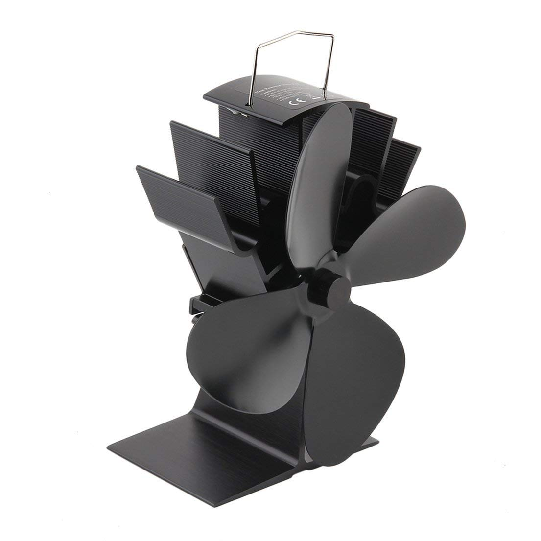 Isabelvictoria Durable 4 Blades Aluminum Black Heat Powered Stove Fan Fuel Saving Stove Fan Eco-friendly Wood Burner Stove Fan