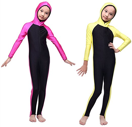 Kids Swimming Costumes - Girls Boys Children Swimsuit Long Sleeve Swimwear Sun Suit Full Leg One Piece Diving Wetsuit