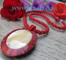 seashell beads necklace pendant red coral seashells