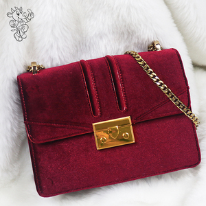 2018 Newest Lady Chain Bag Fashion Leather Handbag High Quality Shoulder Bags Cross Body Suede Clothes Chain Bag Purse