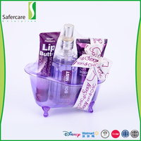 High quality purple color 3 pcs personal care travel kit bath and body gift set
