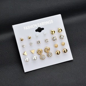 Fashion Gold Zircon Earring Crystal Stud Heart Triangle Pearl Earrings For Women Wholesale NS2018012