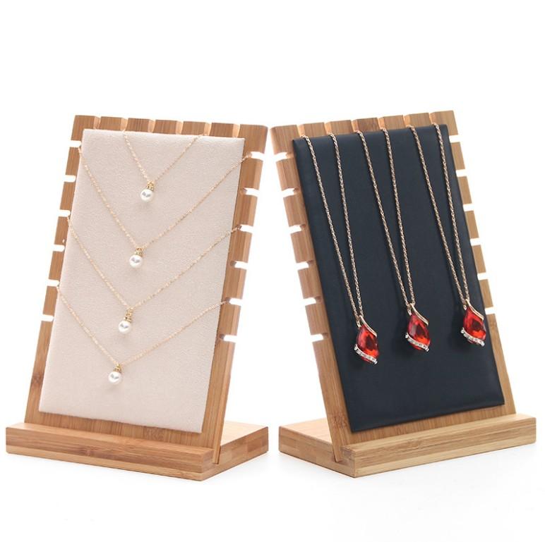 Bamboo Wood Pendant Necklace Display Holder Jewelry Display Stand with Blocks Leather