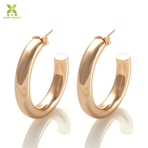925 Sterling silver hoop earrings manufacturer gold plated thick hoop earrings women