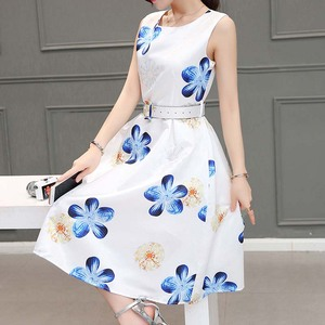 WAT1730 Printing boutique sleeveless dress A line lady skirts