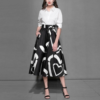 OEM Two Piece OL Blouse Swing Printing A-Line Skirt Women Skirt Suit For Lady Business Suit