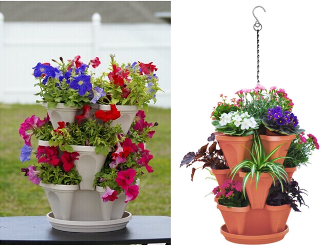 Stackable Garden Planter A Stacking Hanging Pot 3 Tiers Terracotta Color Stack Grow