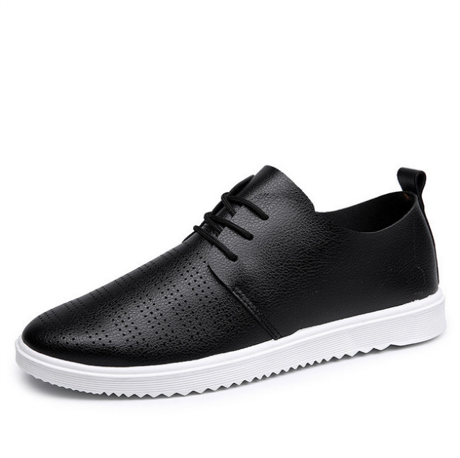 PU leather casual shoes hollow breathable shoes spring men autumn shoes