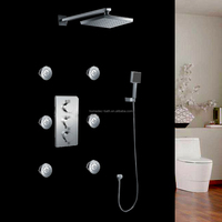 In stock luxury thermostatic three handles rain shower kit