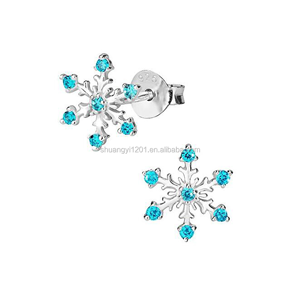 Christmas Gifts Studs Earrings Winter Theme Crystal Snowflake Studs Earrings For Christmas