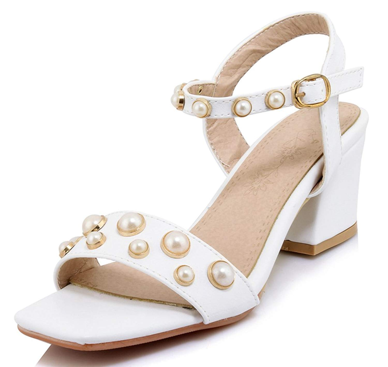 58c27c02d6 Get Quotations · SHOWHOW Women's Lovely Pearls Ankle Strap Chunky Heel Mid  Heel Sandals for Party