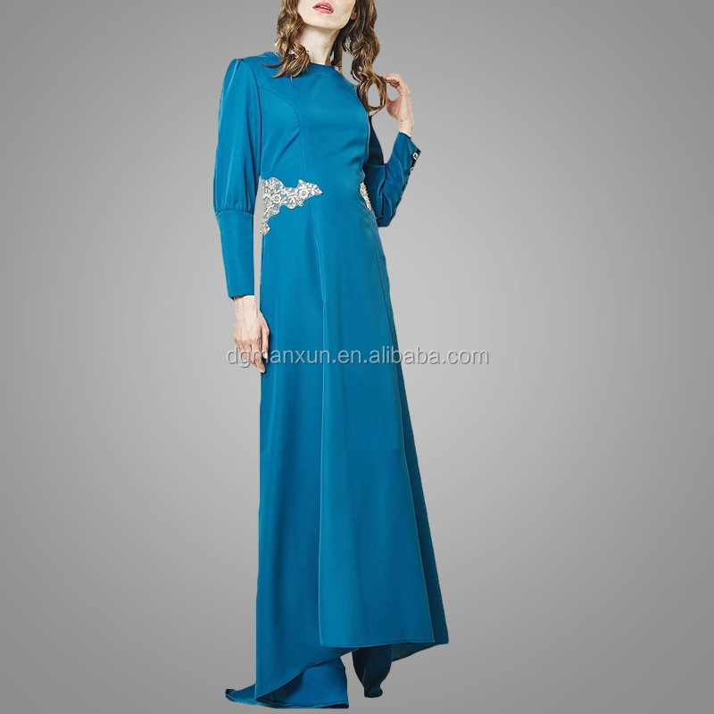 2017 Fashion muslim evening dresses lace applique islamic abayas modest turkey women dress