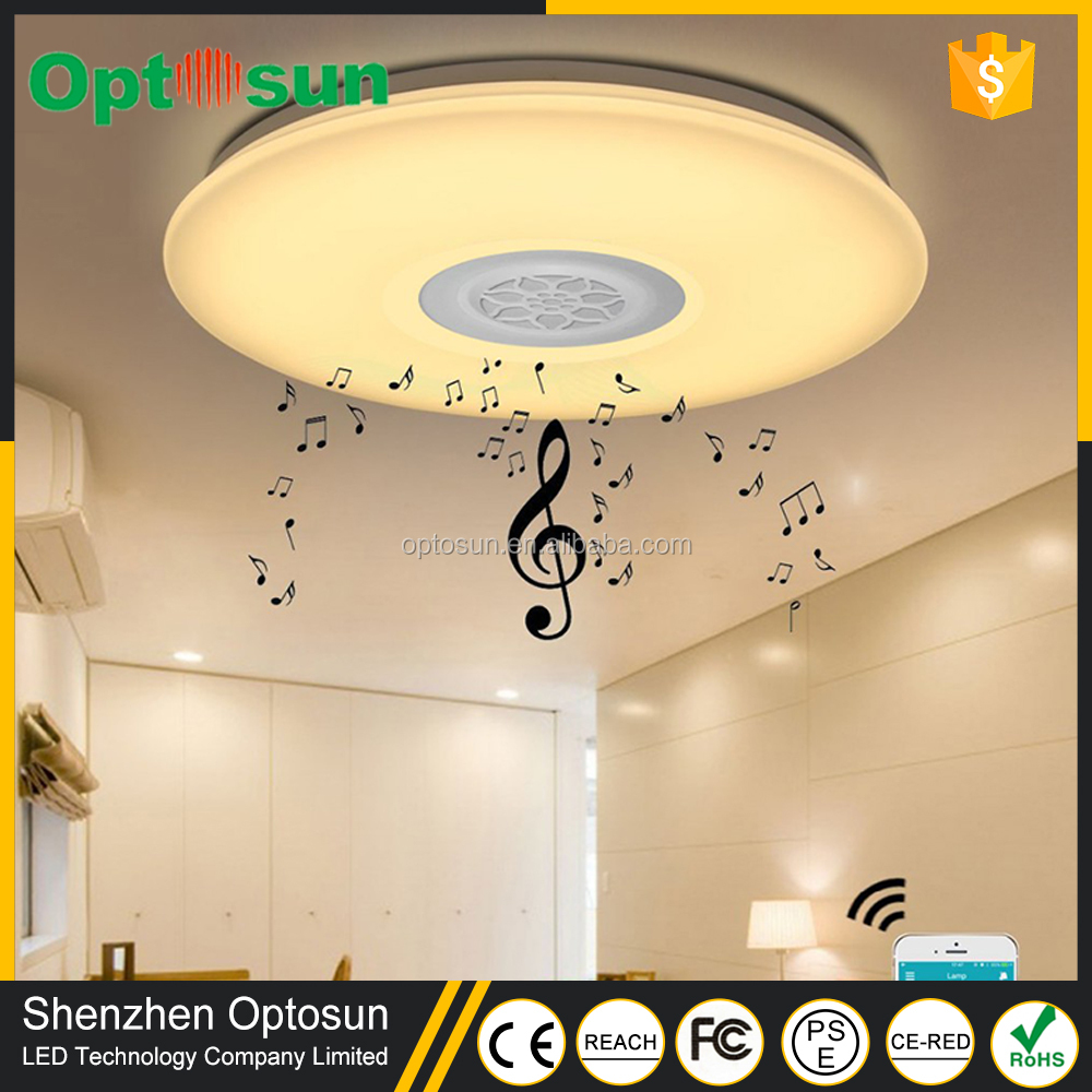 Modern Surface Mounted Dimmable Rgb Lamp Fixture Round Color Changing Led Ceiling Light With Sleep Timer Bluetooth Speaker