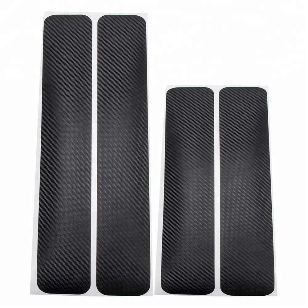 4x 3D Carbon Fiber Car Door Sill Scuff Plate Protecter Sticker Cover Accessories