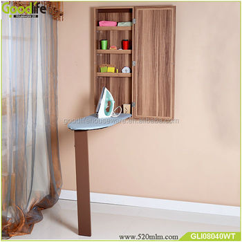 Folding Ironing Board Storage Cabinet With Mirror