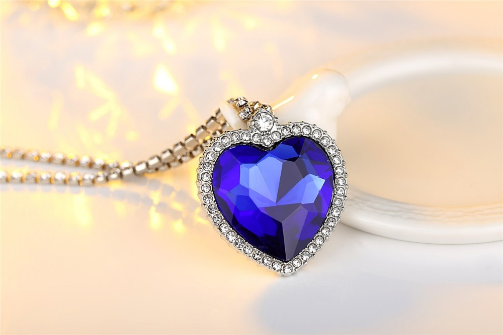 wholesale Titanic Heart of Ocean blue heart love forever pendant Necklace