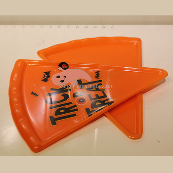 plastic spooky halloween pizza triangle slice serving tray