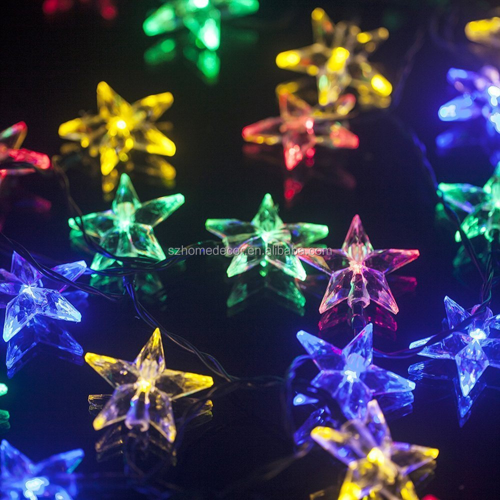 Solar Outdoor Christmas String Lights, 30 LEDs Lucid Crystal Star Waterproof Light for Garden/Yard/Home/Landscape/Holiday