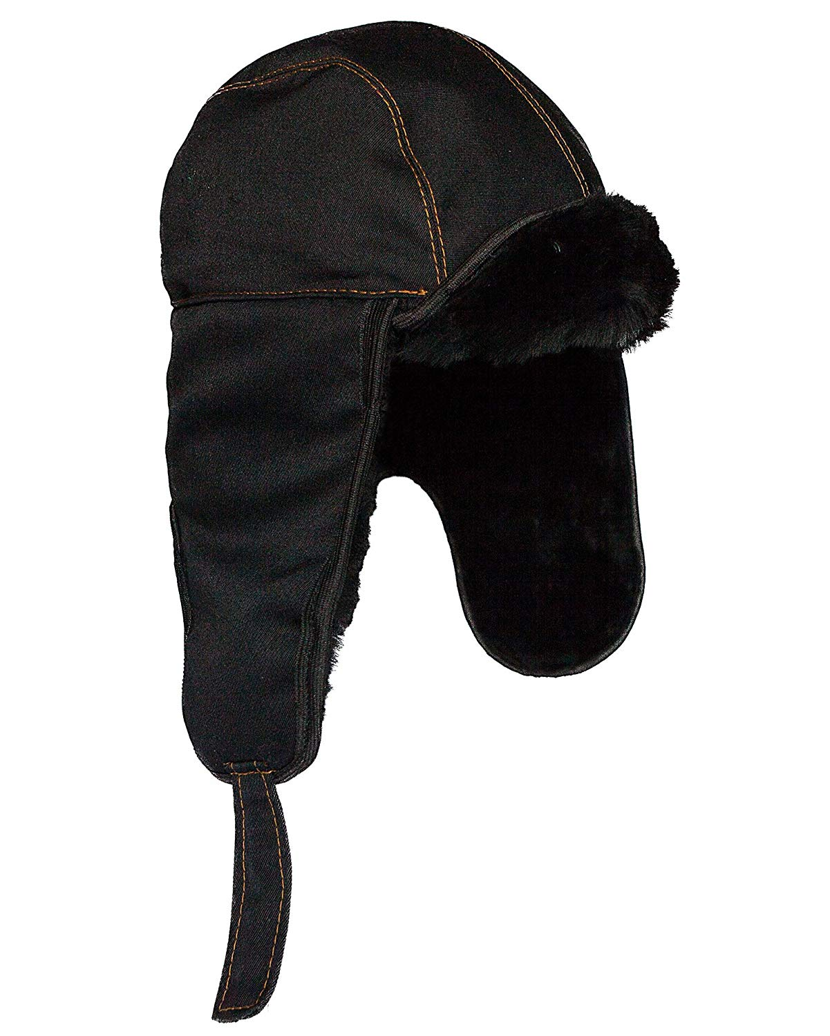a3a0bbbff13 Get Quotations · Shearling Sheepskin Russian Aviator Bomber Hat. Black