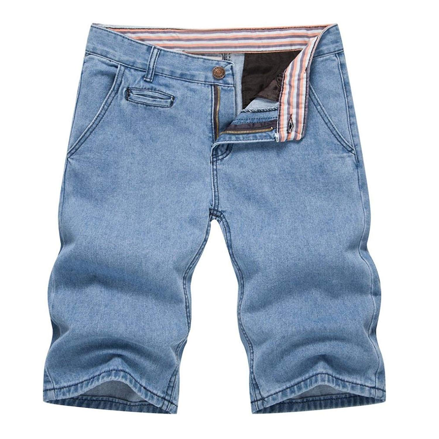 cdcc1b592a2 Get Quotations · RAISINGTOP Mens Teen Boys Summer Denim Shorts Tapered Outfits  Casual Capri Jeans Pants Slim Fit Lounge