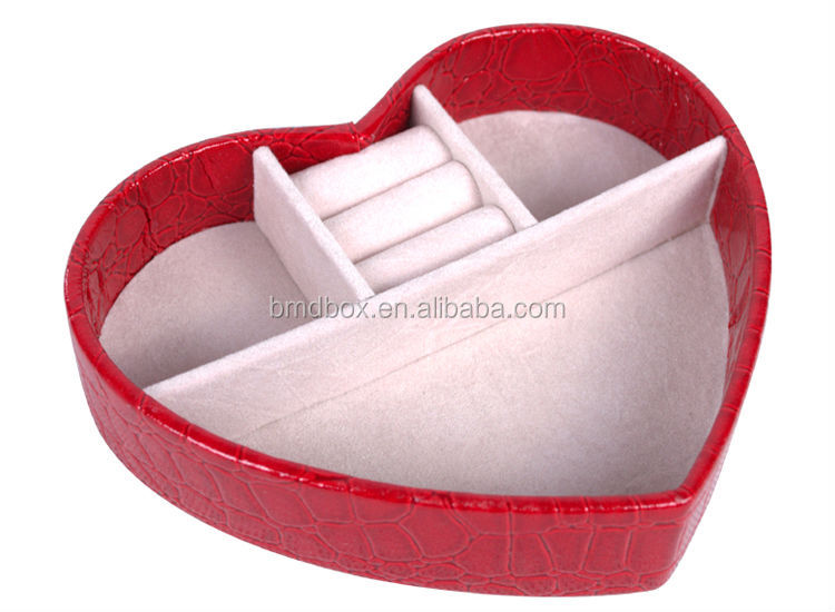 wedding small gift pu leather hear shape jewelry box for jewelry wholesales