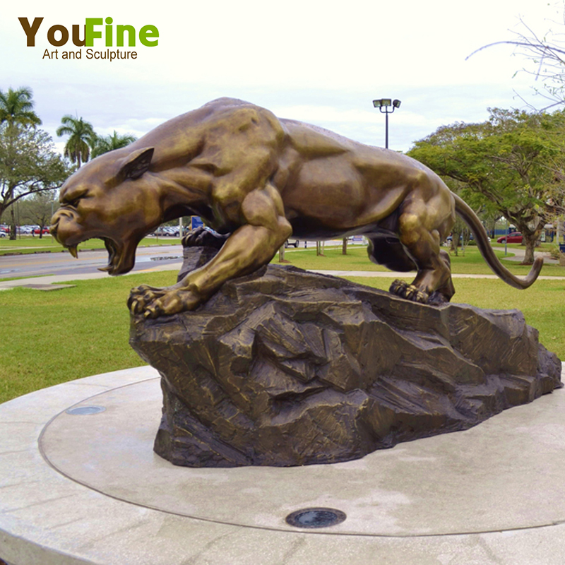 Casting Statue Bronze Life Size Black Panther Sculpture For