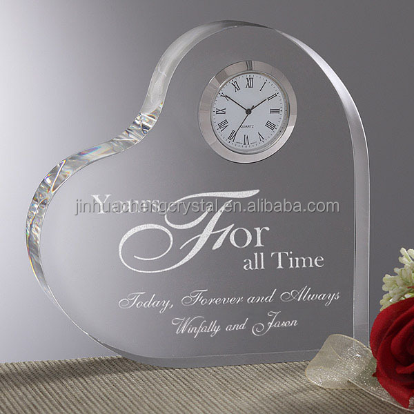 heart shape <strong>crystal</strong> with clock <strong>crystal</strong> wedding favors gifts