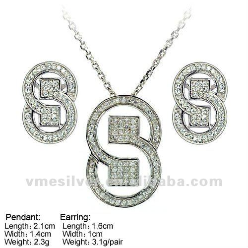 SZL-0032 925 Sterling silver pendant and earring, sterling silver 8 jewelry set