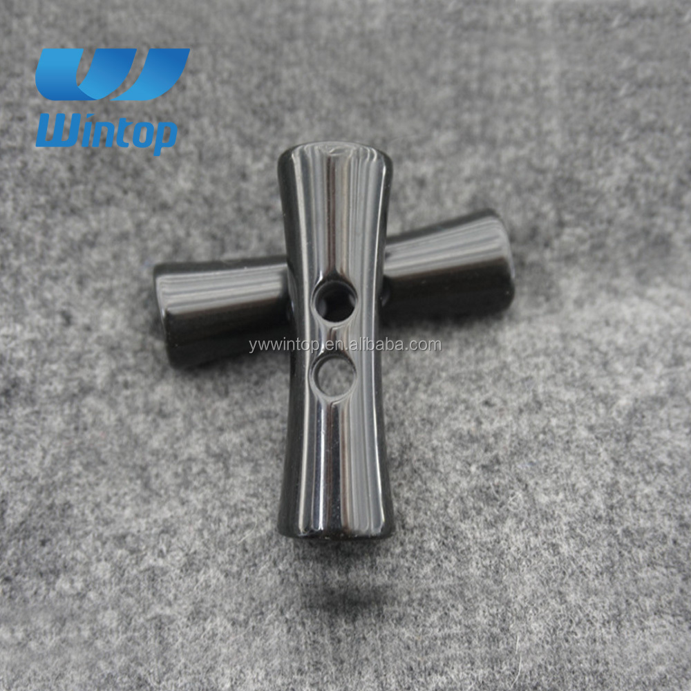 super quality special shaped two hole black toggle garment button