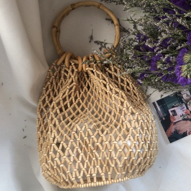 Mini Bamboo Bags Hand Knit Japanese Style Retro Ladies Stored