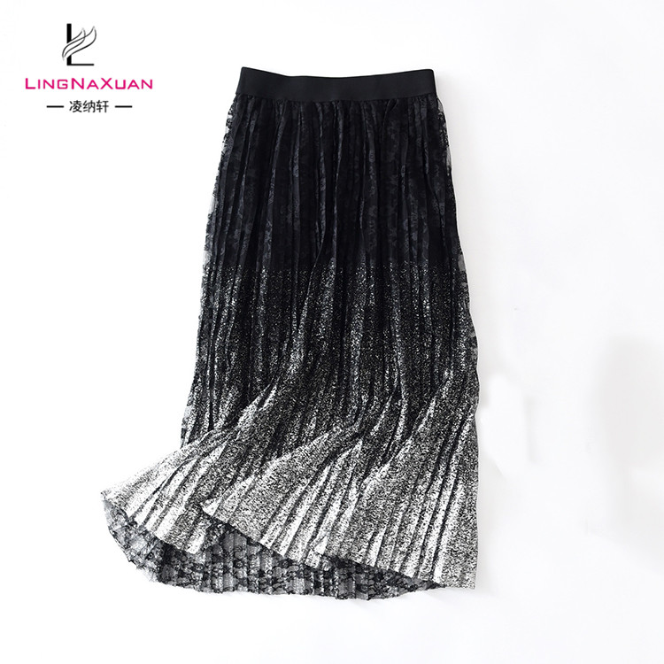 Fashion Spring Summer Korean Lace Black Lady Skirt Pleated Skirts for Women