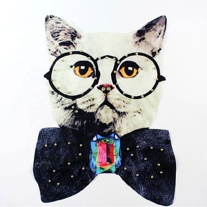 Wholesale 3d cat embroidery designs Iron-on leather Beading patch custom