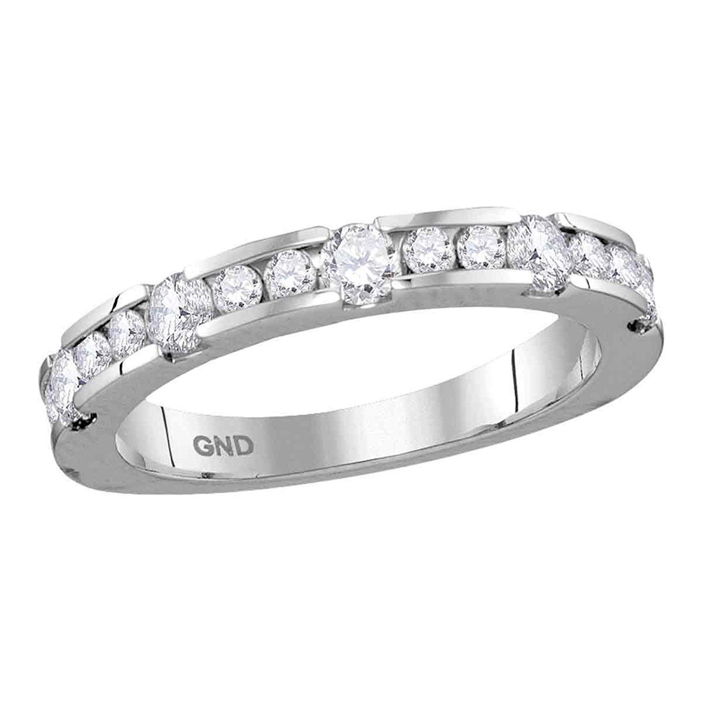 14k White Gold Womens Round Diamond Wedding Band Fancy Bridal Ring Anniversary Style Fancy 3/4 ctw