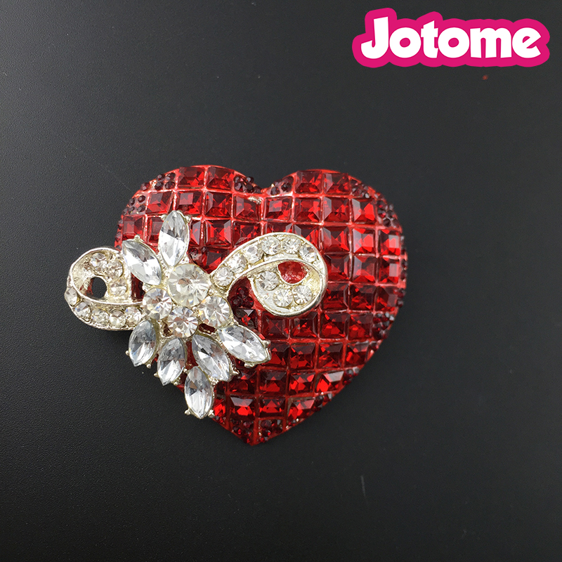 Ruby Red Colored Crystal Rhinestone Heart Love Silvery Tone Brooch Pin
