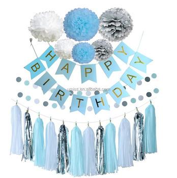 UMISS Blue Silver White Birthday Decoration Set Happy Birthday