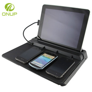 4USB solar charger cell phone charging station valet for cell phones