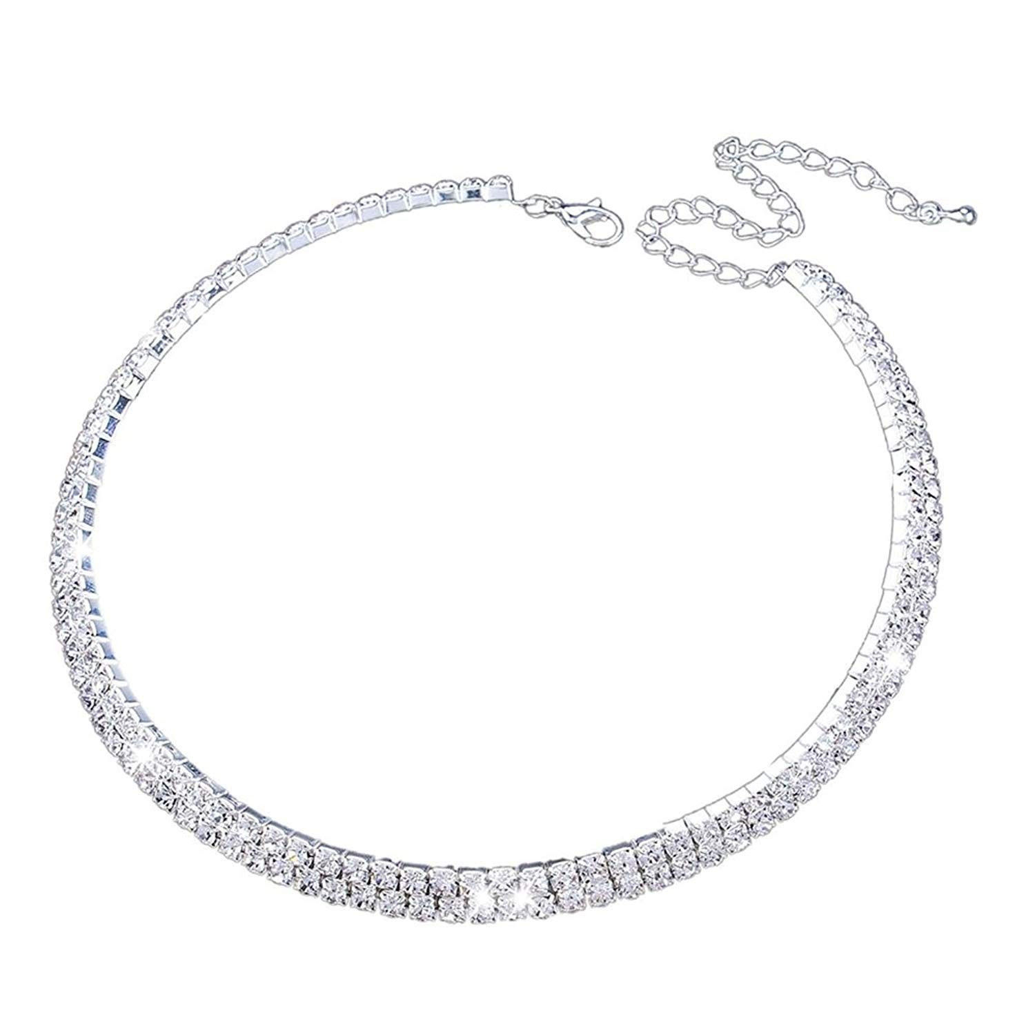Fit&wit Bridal Wedding Jewelry Crystal Rhinestone Collar Choker Necklace Silver