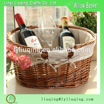 Factory Whole Wicker Wine Holder Picnic Basket With Fabric Liner