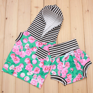 cotton printed beach wear children clothing sets gril stripe clothes