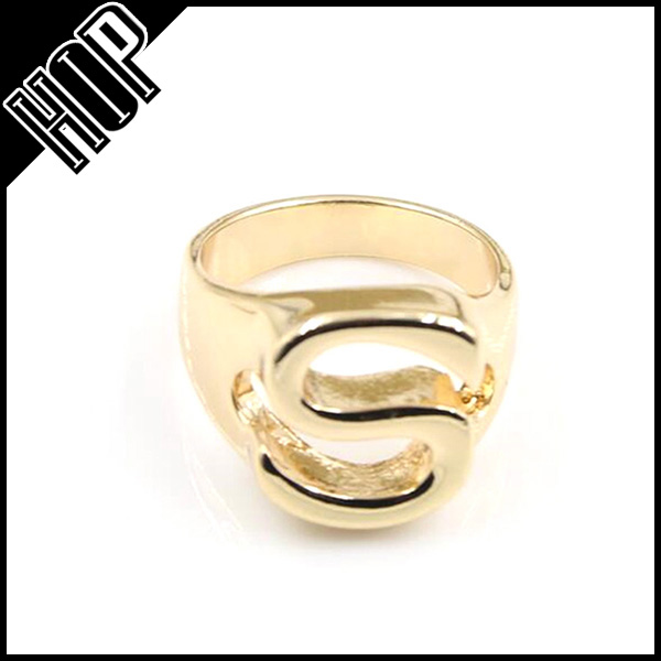 Simple Design Gold Plated Letter Alphabet Ring Buy Letter